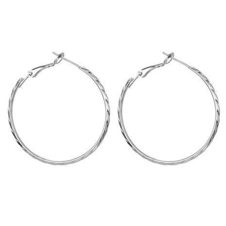 Pendientes de aro grande simple de plata 925 grabada redonda exagerada NHGO196156's discount tags