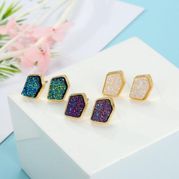 Joyas de imitación pendientes de piedra natural pendientes de yemas de cristal irregulares pendientes de resina NHGO196158