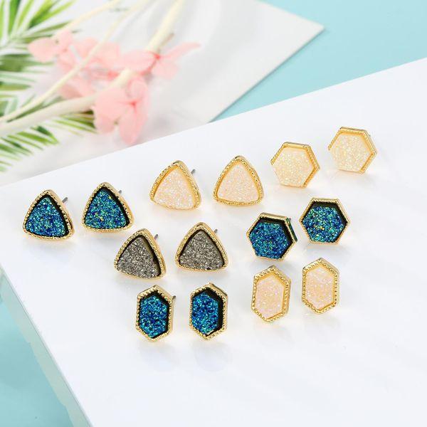 Joyas Hexágono Imitación Pendientes de piedra natural Triángulo Imitación Brote Pendientes de resina Pendientes NHGO196159