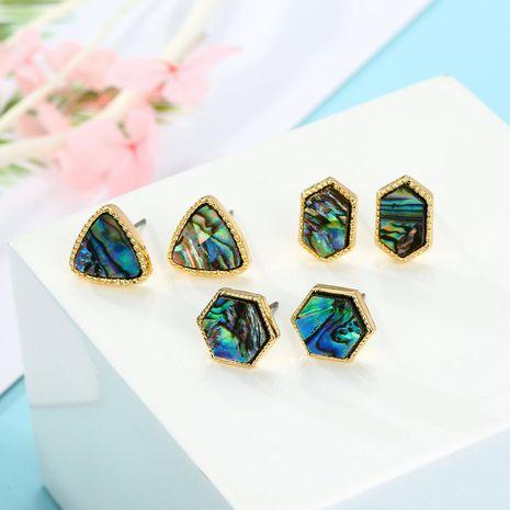 Joyas Pendientes de concha de abulón de seis lados ins Pendientes de concha de triángulo Pendientes de resina NHGO196160's discount tags
