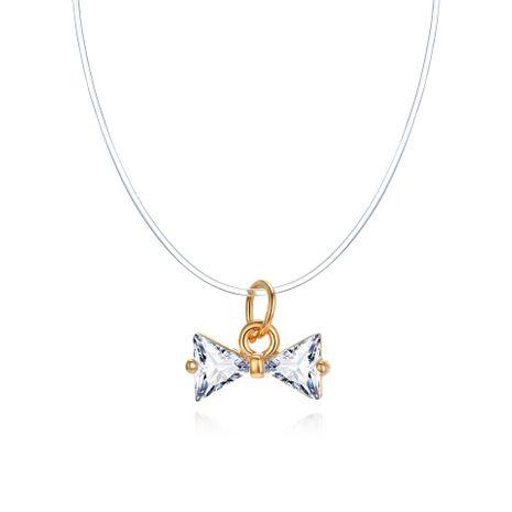 Joyería coreana Nuevo collar invisible Collar de lágrima de sirena Collar de circón de lágrima de arco NHGO196161's discount tags