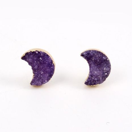 Jewelry New Small Natural Stone Moon Stud Earrings Amethyst Earrings NHGO196164's discount tags