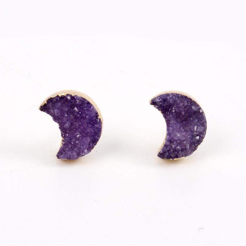 Joyas Nuevos pendientes pequeños de piedra natural con forma de luna Pendientes de amatista NHGO196164