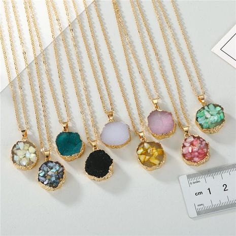Jewelry Original Shell Necklace Imitation Natural Stone Round Sun Flower Pendant Resin Necklace NHGO196168's discount tags