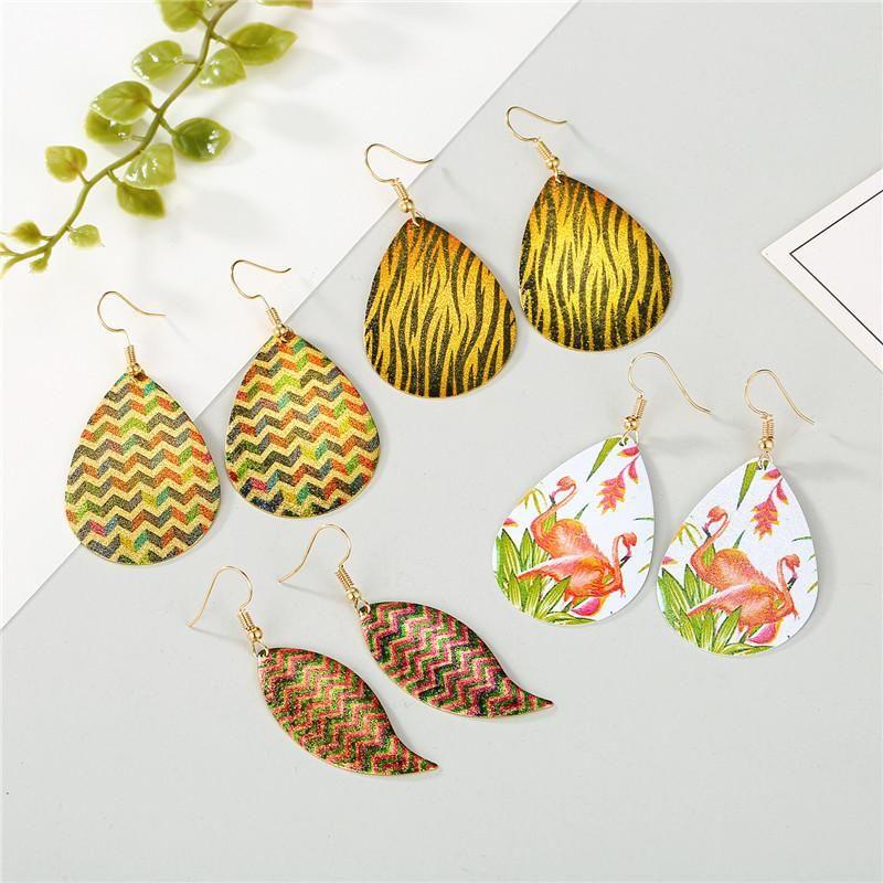 Flamingo iron plate ear hook leopard print earrings earrings Korean printing iron plate earrings NHGO196171