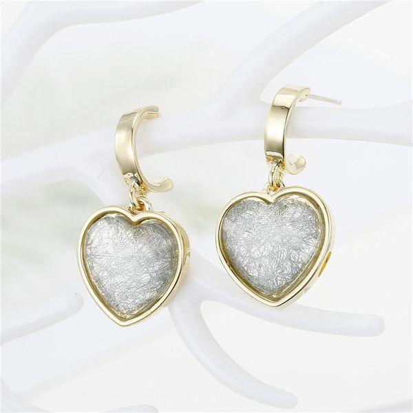 Jewelry 925 silver Korean earrings love earrings hair crystal resin earrings earrings NHGO196172