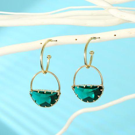 Simple green semi-circular crystal earrings handmade multi-faceted glass earrings 925 silver Korean earrings NHGO196175's discount tags