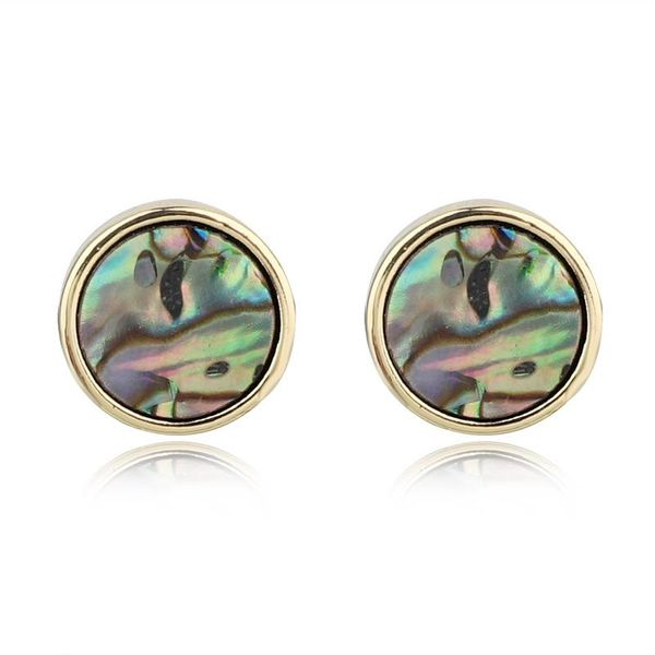 Jewelry round imitation abalone shell earrings colored shell earrings resin earrings NHGO196176