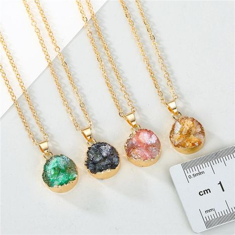 Jewelry small shell necklace imitation natural stone round pendant resin necklace NHGO196178's discount tags