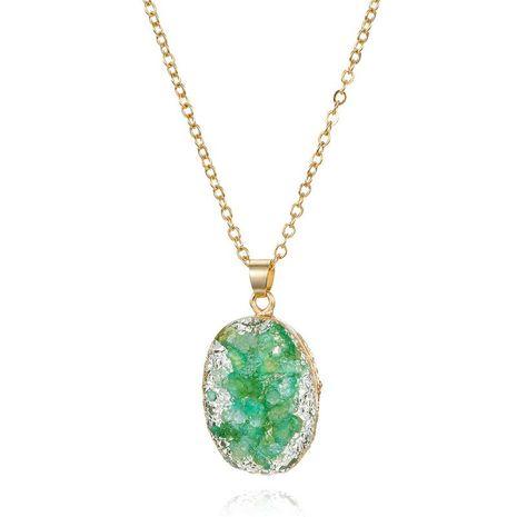 Bijoux collier de coquille simple imitation pierre naturelle ovale pendentif collier de résine NHGO196179's discount tags