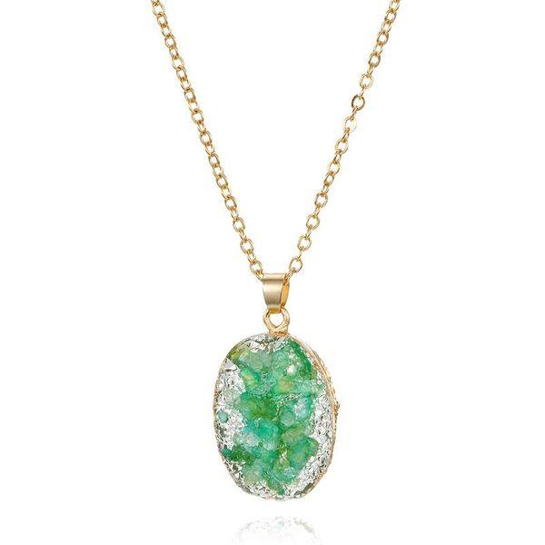 Joyería simple collar de concha imitación piedra natural colgante ovalado collar de resina NHGO196179