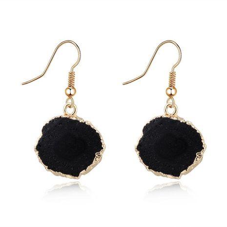 Nuevas joyas pendientes vintage pendientes de imitación de piedra natural pendientes redondos de resina flor de sol NHGO196181's discount tags