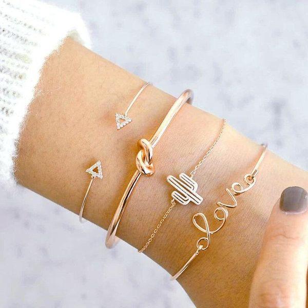 Love Letter Cactus Knotted Bracelet Vintage Triangle Diamond Bracelet Set Bracelet NHPV196242