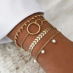 New simple geometric circle bracelet pattern arrow pearl pendant set bracelet NHPV196245's discount tags