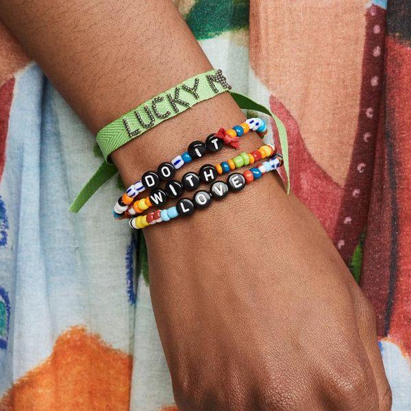 Jewelry simple color synthetic resin alphabet bracelet set NHPV196247