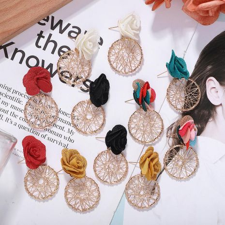 Korean new wave fabric flower alloy earrings hollow knit earrings jewelry accessories NHJQ196248's discount tags
