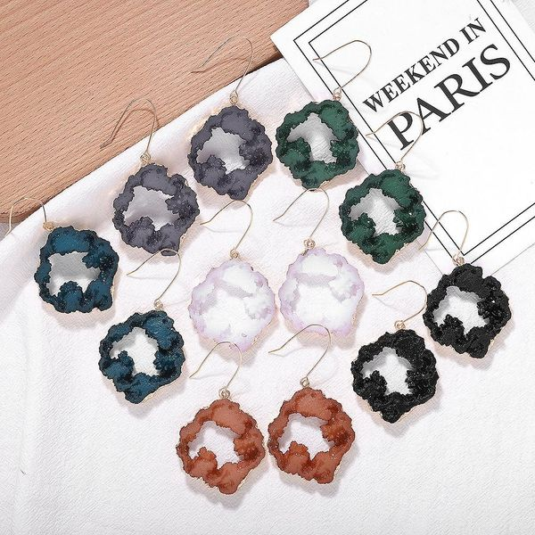 Resin stone earrings irregular earrings fashion earrings accessories jewelry NHJQ196251