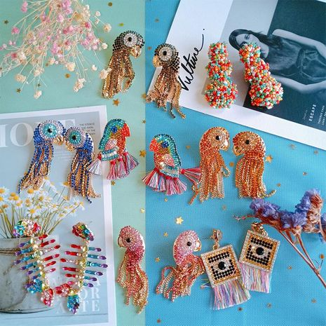 Alloy diamond tassel earrings fashion animal earrings marine earrings NHJQ196253's discount tags