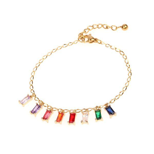 New accessories fashion colored zircon pendant bracelet stainless steel bracelet jewelry wholesale NHPY196199
