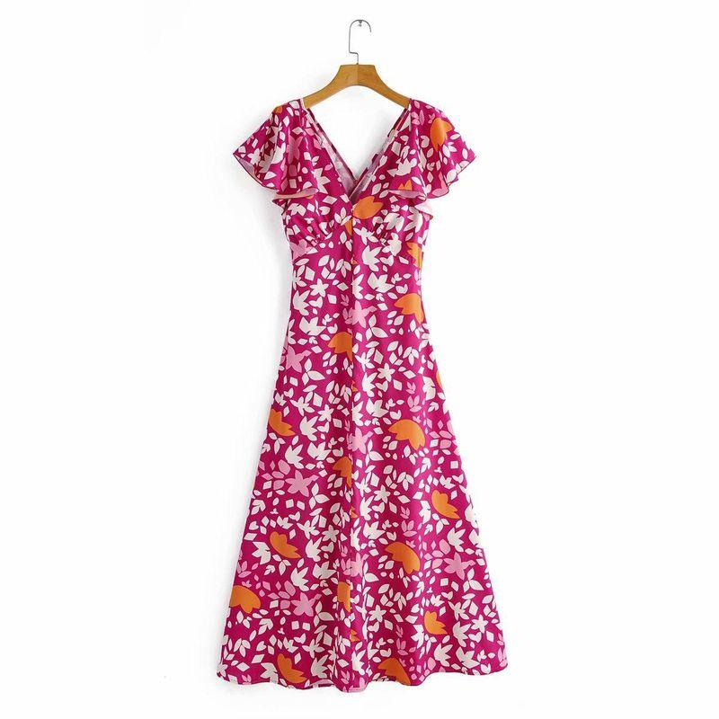 Wholesale Spring Printed V-neck Back Lace Up Dress NHAM196275