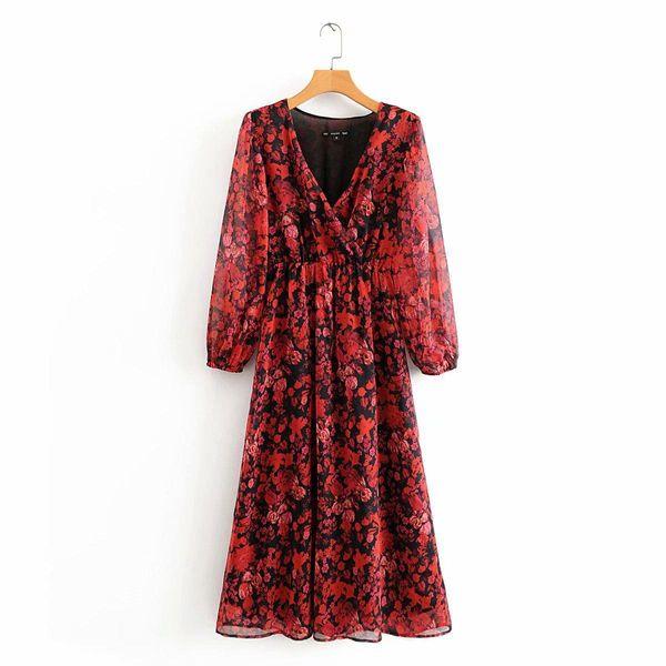 Wholesale Spring Flowy Crepe Fabric Floral Print Long Sleeve Dress NHAM196288