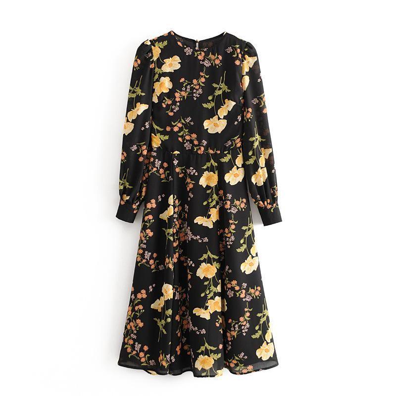 Wholesale Vintage Printed Open Back Hem Split Long Sleeve Dress NHAM196295