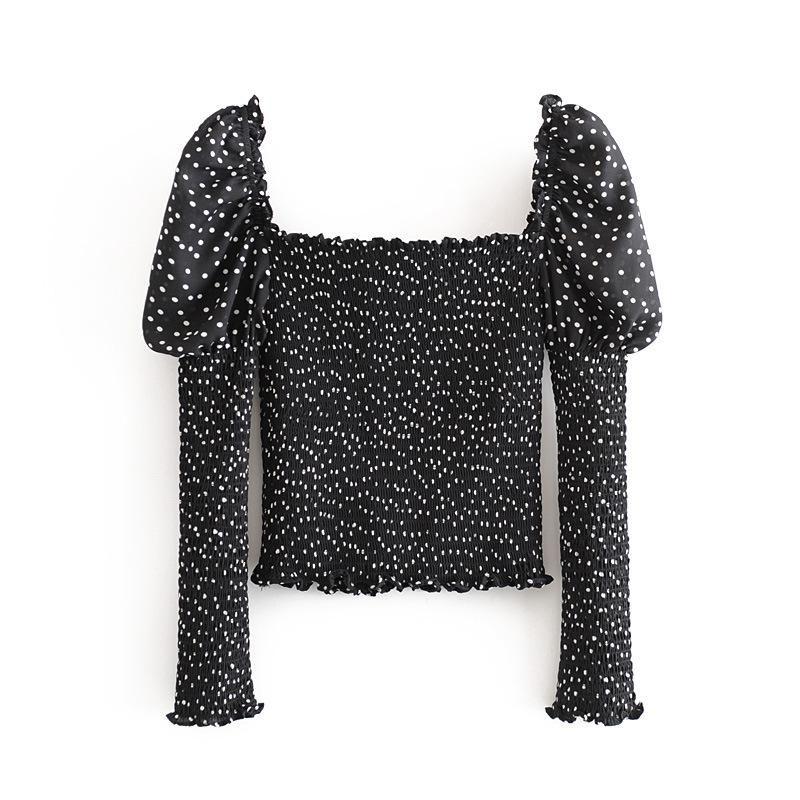 Vintage Polka Dot Square Collar Fungus Elastic Slim Fit Slim Shirt Long Sleeve Top NHAM196305