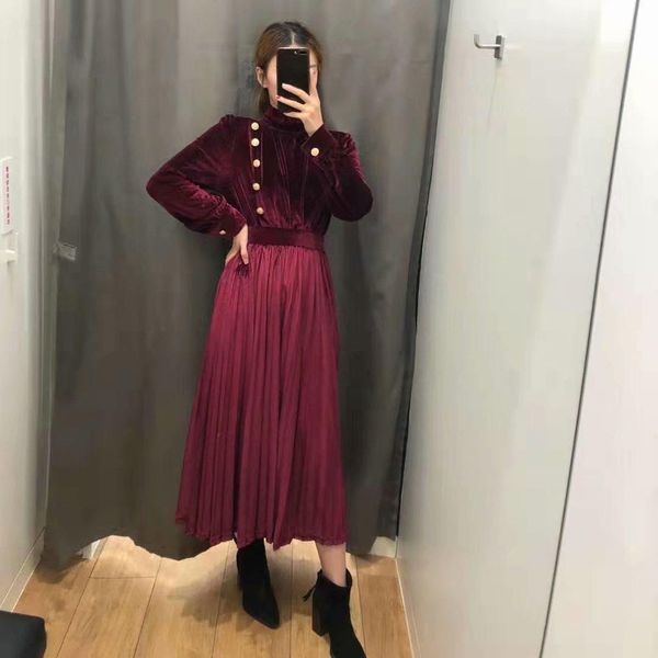 Wholesale Spring Style River Wine Red Stretch Velvet Long Sleeve Dress NHAM196307