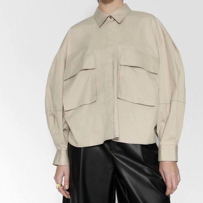 Wholesale Spring Loose Casual Ladies Patch Pocket Shirt Top NHAM196315