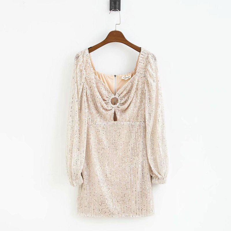 Wholesale Spring Sequin Lantern Sleeve Fashion Long Sleeve Dress NHAM196322