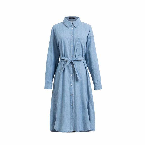 Wholesale Spring Belt Denim Long Sleeve Dress NHAM196328