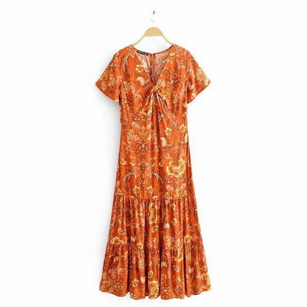 Wholesale Spring V-Neck Print Short Sleeve Cotton Holiday Dress NHAM196352