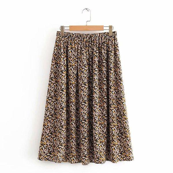 Wholesale floral midi retro skirt NHAM196362