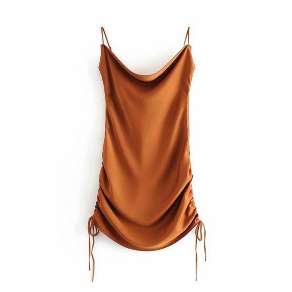 Wholesale Drawstring Sling Collar Diagonal Satin Sling Dress Evening Dress NHAM196365