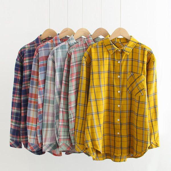 Wholesale New Loose Joker Striped Shirt Women's Pocket Shirt NHAM196367