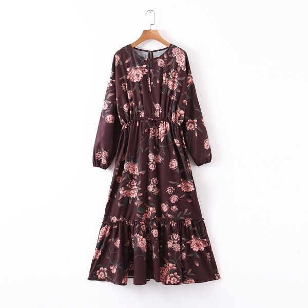 Wholesale printed ruffled waist long sleeve dress flower skirt NHAM196370