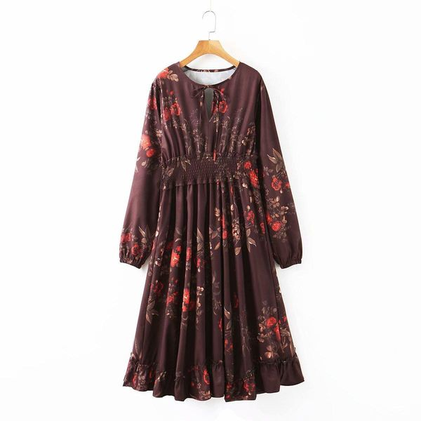 Wholesale Print Tie Smocked Long Sleeve Dress NHAM196371
