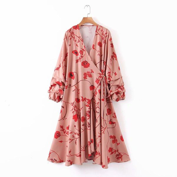 Spring new women's loose fashion casual V-neck long-sleeved lace dress NHAM196374