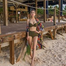 New female split sexy dark green highwaist coverup bikini swimsuit NHHL196417