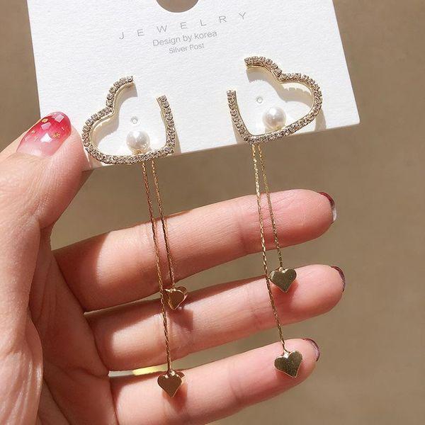 S925 Pendientes de borla coreana de plata Pendientes de borla de perlas Pendientes largos de amor de muesca NHMS196467