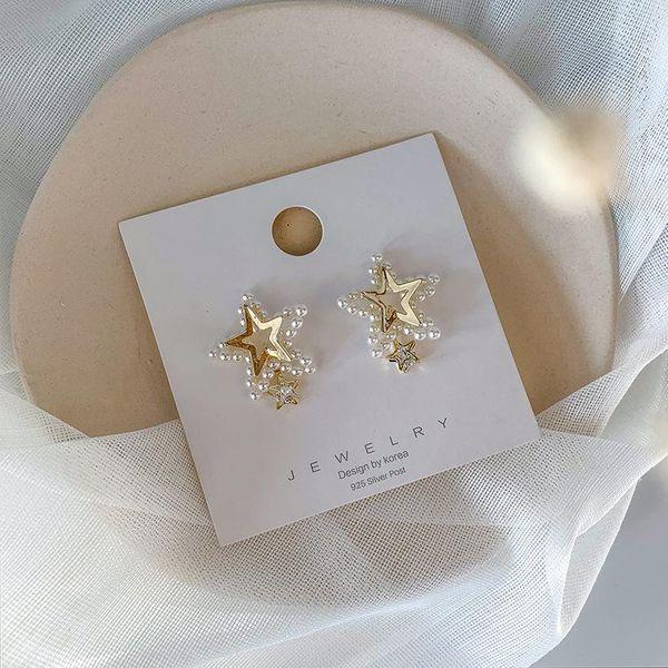 S925 Silver Korean Sweet Pearl Rhinestone Pentagram Earring Fashion Stereo Star Pendientes Mujer NHMS196469