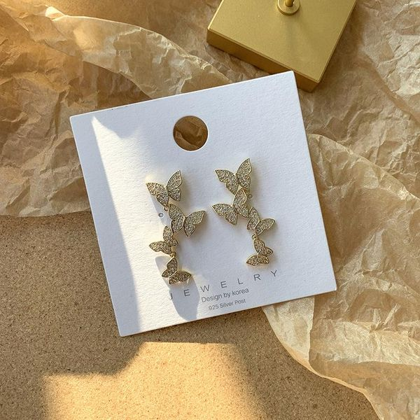 S925 plata nueva coreana pop mariposa pendientes dulces pendientes de diamantes mujeres NHMS196472