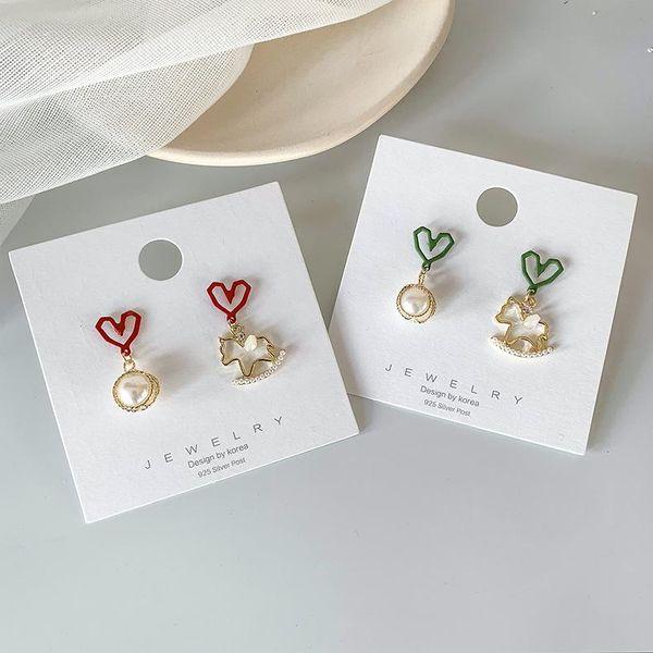 S925 Nuevos pendientes de plata de Corea del amor geométrico Troya perla Pendientes dulces de niña linda NHMS196475