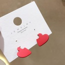 fashion red love earrings new red heart studs NHMS196477