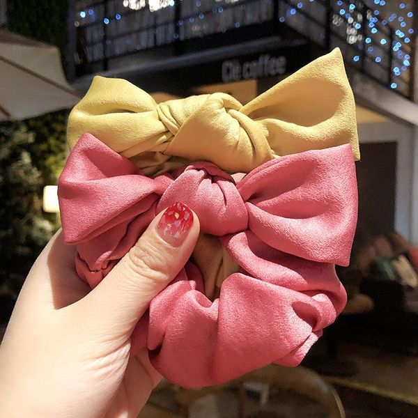 Korean version of the ribbon bow head rope tied hair rubber band hair ring simple cute girl hair rope headdress NHMS196485