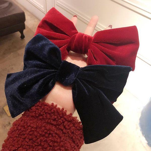 Velvet large bow hairpin female spring clip hairpin sweet lolita top clip simple headwear NHMS196486