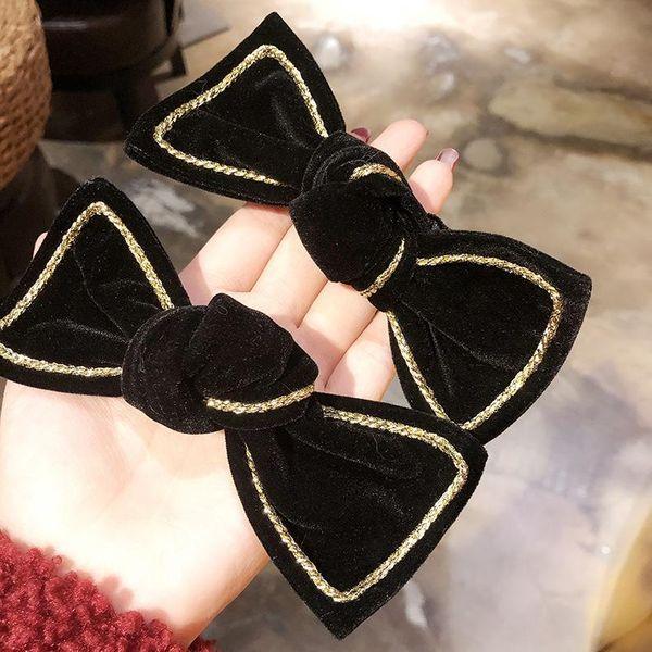 Retro black velvet bow girl hair clip hair ring head rope headdress hair rope NHMS196487