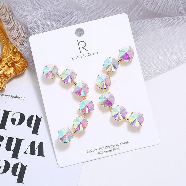 Fashion Crystal Fan Pendant Stud Earrings Bohemian Colored Diamond Earrings NHKQ196497