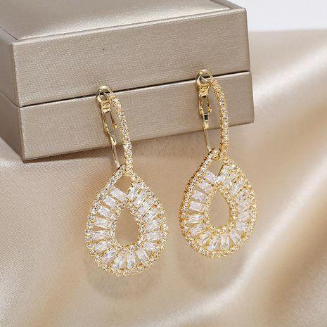 Simple Earrings High-grade Copper Water Drop Zirconia Ear Clip Hollow Ear Jewelry Wholesale NHKQ196502's discount tags