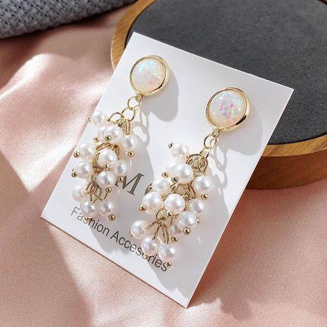 Korean fashion new pearl grape string earrings female crystal super fairy pearl tassel earrings NHPF196507's discount tags
